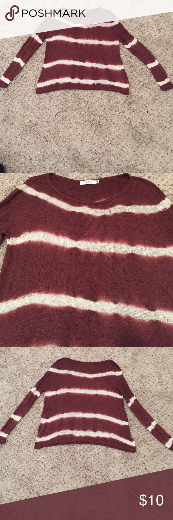 Maroon and White Striped Sweater | Striped sweaters and Sweaters