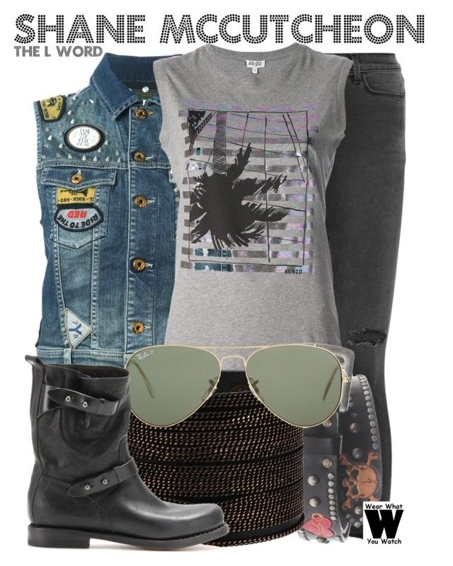 """""""The L Word"""" by wearwhatyouwatch ❤ liked on Polyvore featuring Diesel, J Brand, Kenzo, Adia Kibur, Ray-Ban, rag & bone, television and wearwhatyouwatch"""