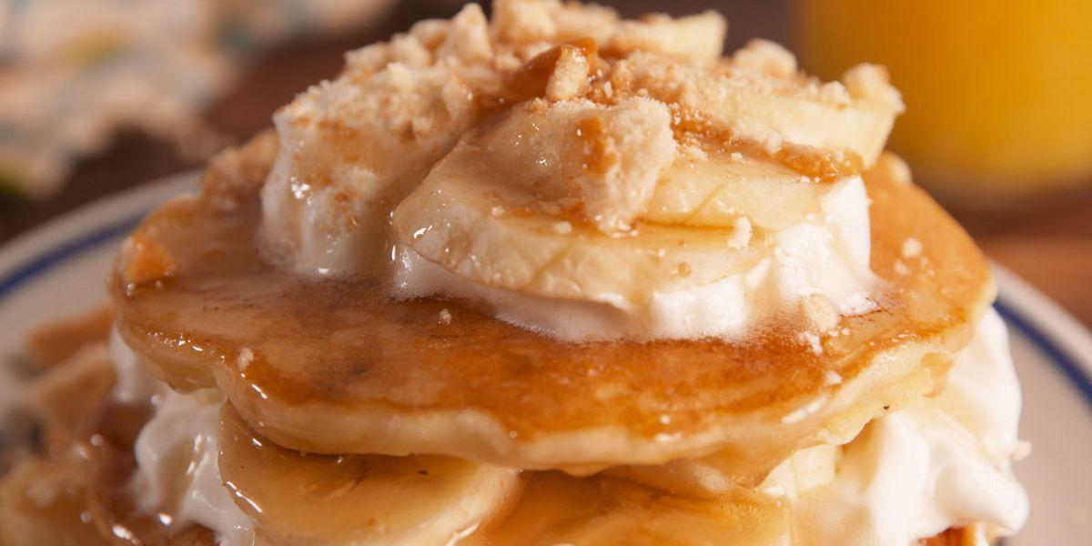 Banana Pudding Pancakes #bananapudding