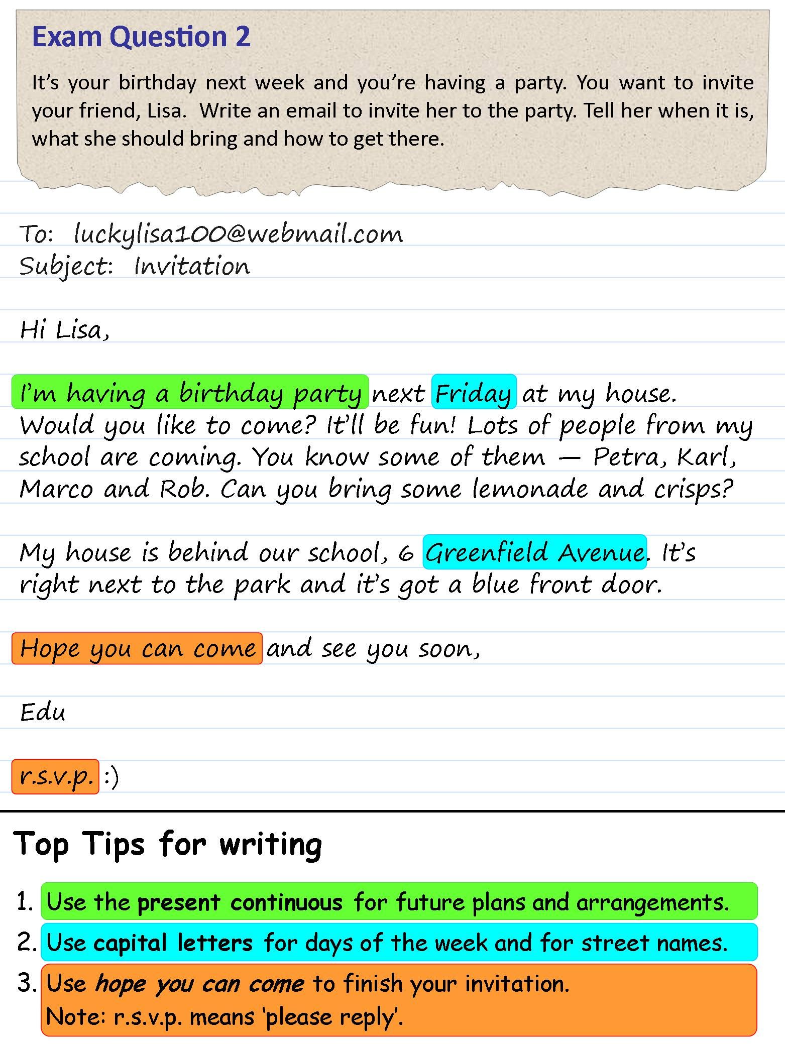 An Invitation To A Party Interesting English Pinterest Writing
