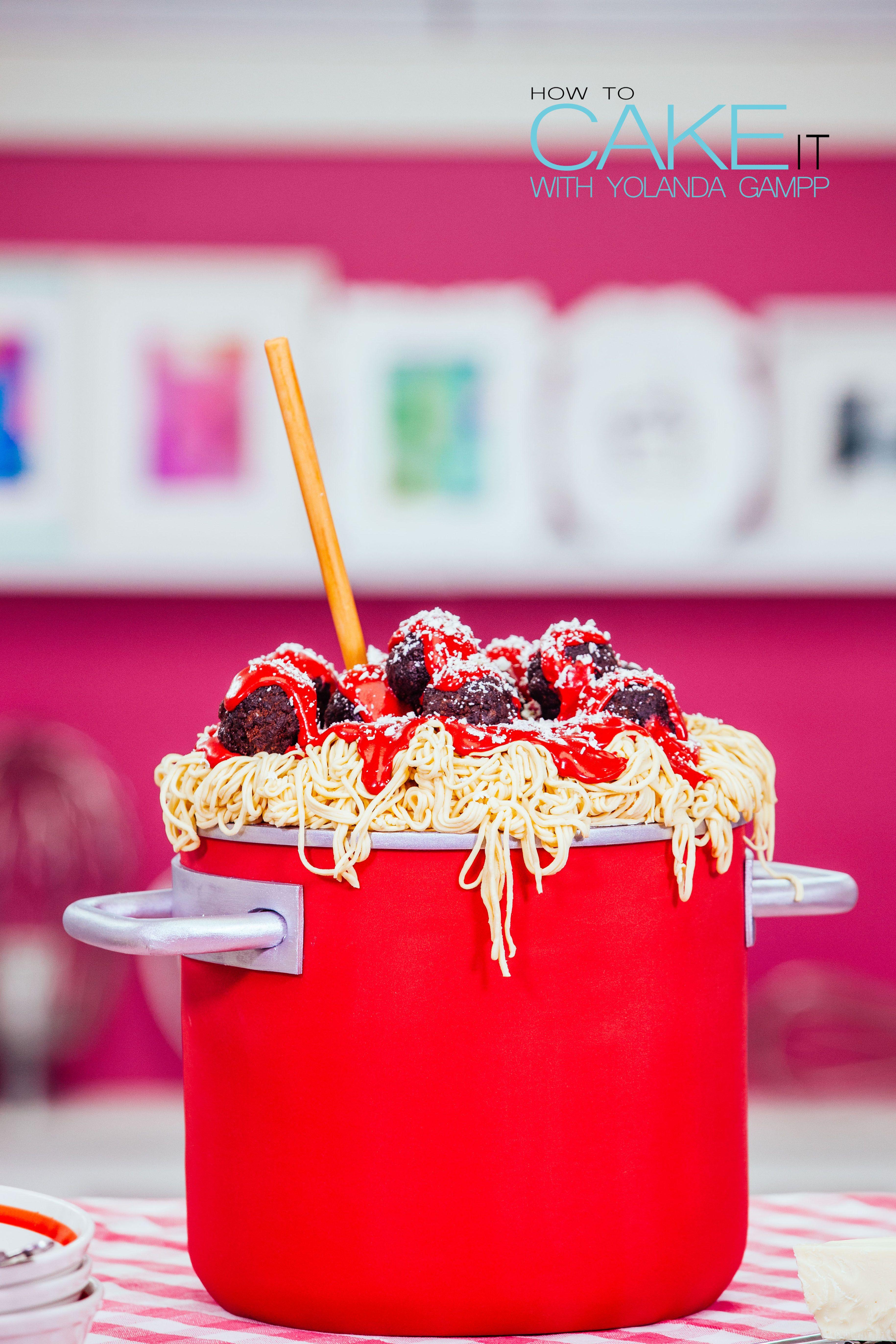 Vanilla Spaghetti & Meatballs Cake with Raspberry Buttercream Sauce ...