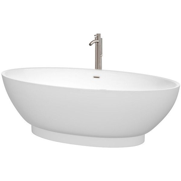 Wyndham Collection Helen 70 inch Freestanding Bathtub in White with... ($2,397) ❤ liked on Polyvore featuring home, home improvement and plumbing