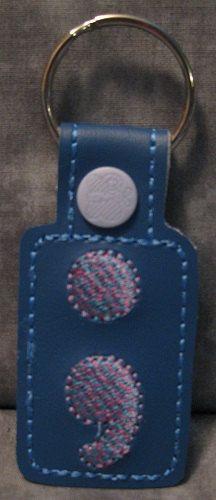 Semi Colon Blue & Purple with Light Purple Snap Tab KeyFob by ghostwalk on Etsy