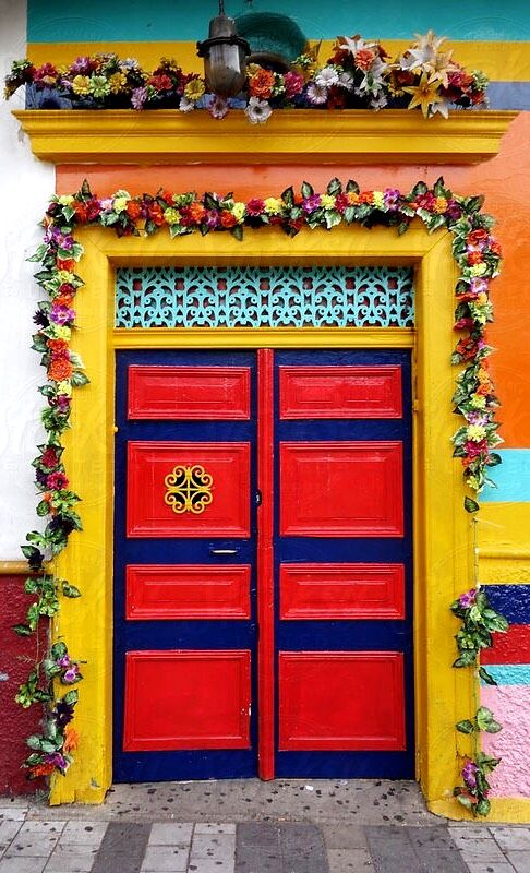 Colorful door decorated with flowers in Medellin Colombia by Per Swantesson - Stocksy United & Medellín Colombia   Doors \u0026 Windows   Pinterest   Doors Colombia ... Pezcame.Com