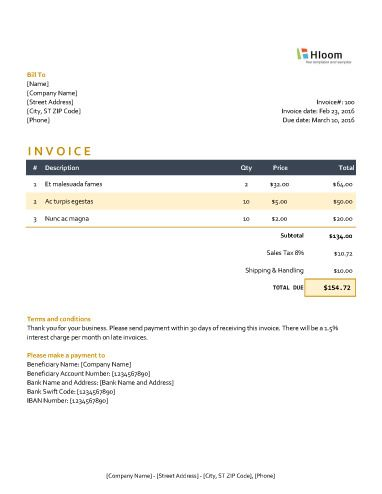 Moonlight Excel Invoice Template service tax invoice Pinterest - tax invoice