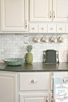 Marble Subway Tile Backsplash With Jet Mist Honed Granit White