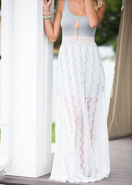 Lace Tank Maxi Dress. Modern Vintage Boutique. Online Fashion Boutique. Online Shopping. Spring and Summer Fashion Outfits. Outfit Ideas. Fashion Bloggers.
