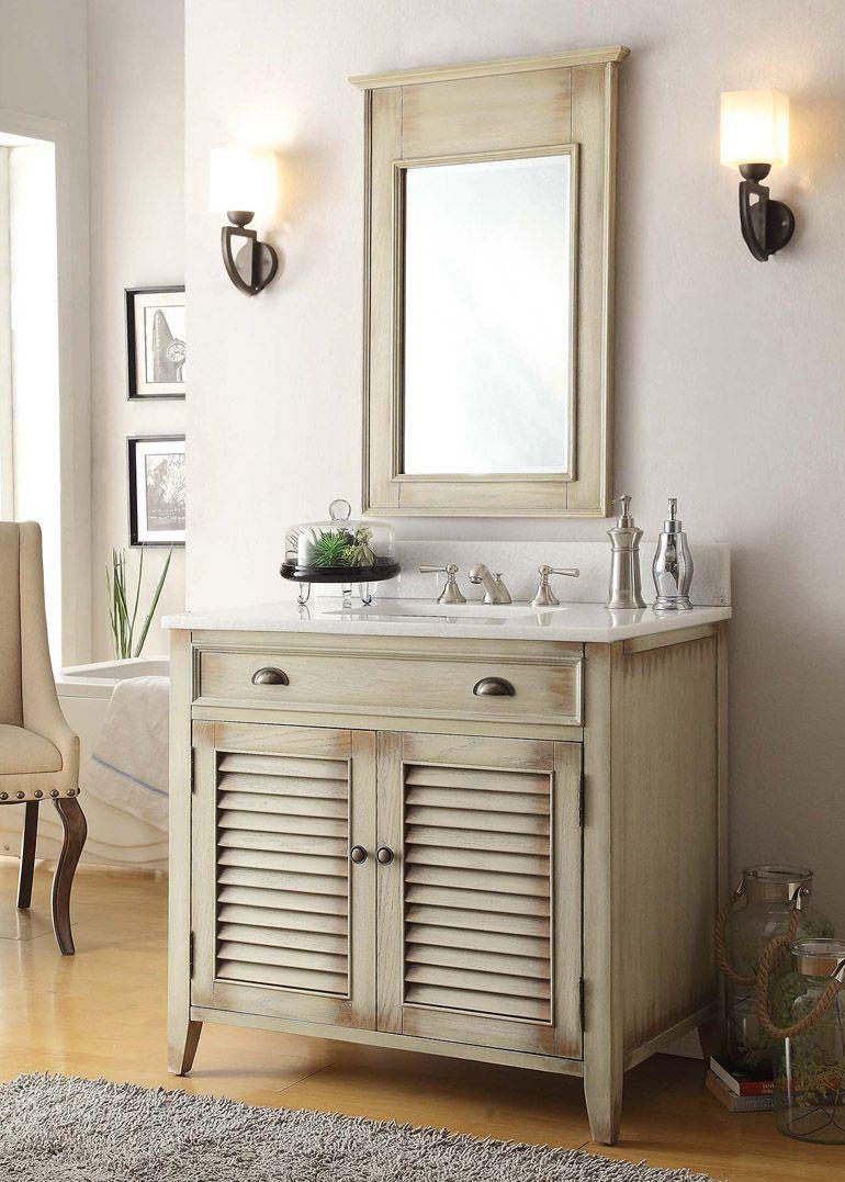 36 Inch Adelina Antique Cottage Bathroom Vanity Beige Bathroom