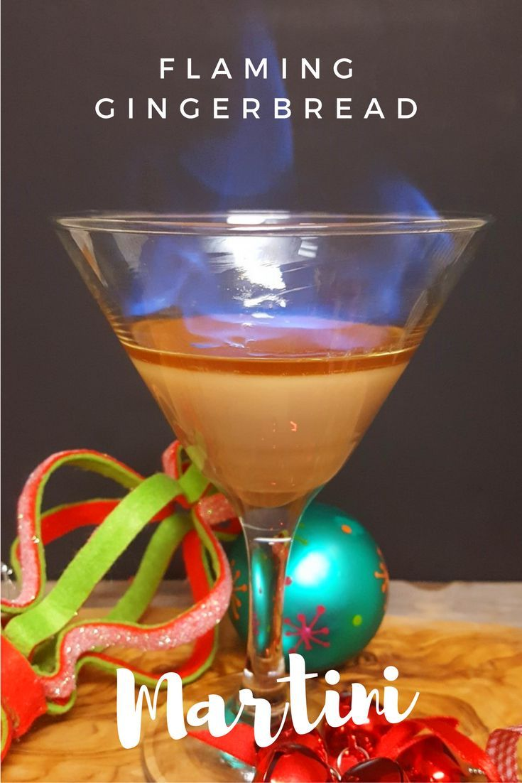 This flaming gingerbread martini combines spicy gingerbread, brown sugar, and Irish cream liqueur to make a festive holiday drink with spark.