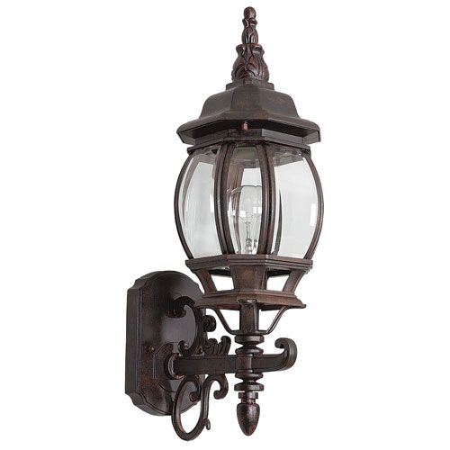 Sunset lighting one light rounded rubbed bronze cast aluminum sunset lighting one light rounded rubbed bronze cast aluminum outdoor wall lantern with clear beveled glass workwithnaturefo