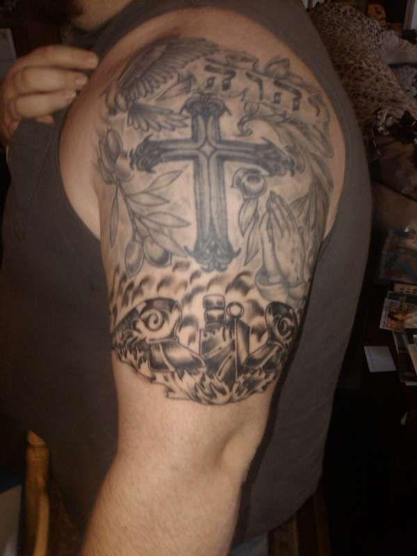 Cross Half Sleeve Tattoo On Tattoochiefcom Cross Tattoos