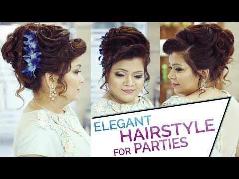 Easy & Elegant Bun Hairstyle Updo for Parties | Hairstyle Tutorial for Prom Night and Reception ...