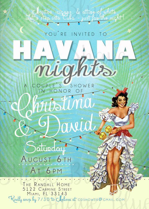Havana Nights Shower Invitation * Cuban Havana Miami * Shower * Baby - invitation letter for us visa cuba