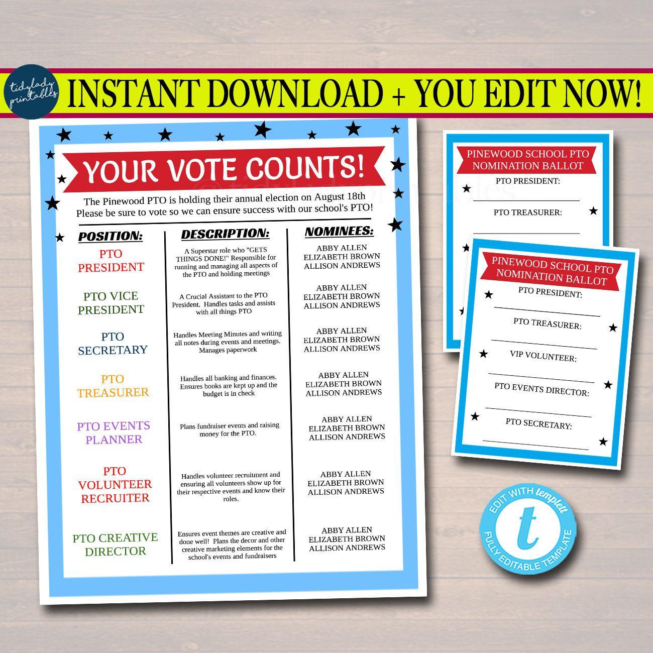 editable pto pta voting flyer and ballot sheets  printable