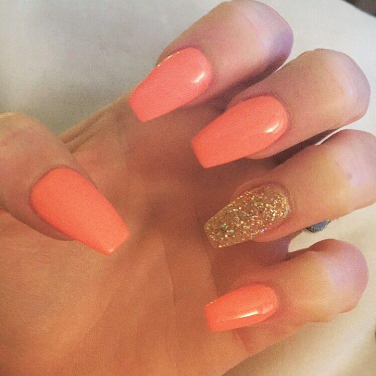 Coral Color Nail Designs: Coral Nails Coffin Nails