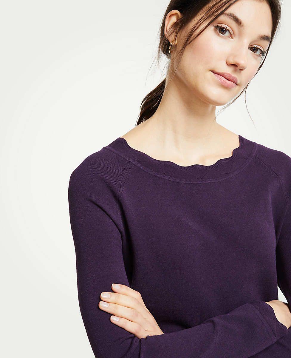715bb2a953 Ann Taylor Scalloped Sweater