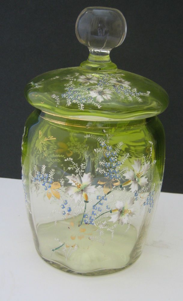 Antique Enameled Glass Biscuit Jar Floral Design Green Color Fades