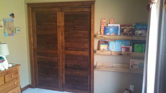Pine Closet Doors In Babys Room Built In An Old Fashioned Style