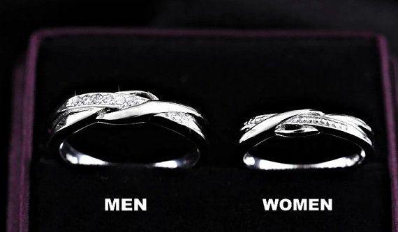 Set Of 2 Infinity Rings Wedding Couples Rings Lovers Rings His