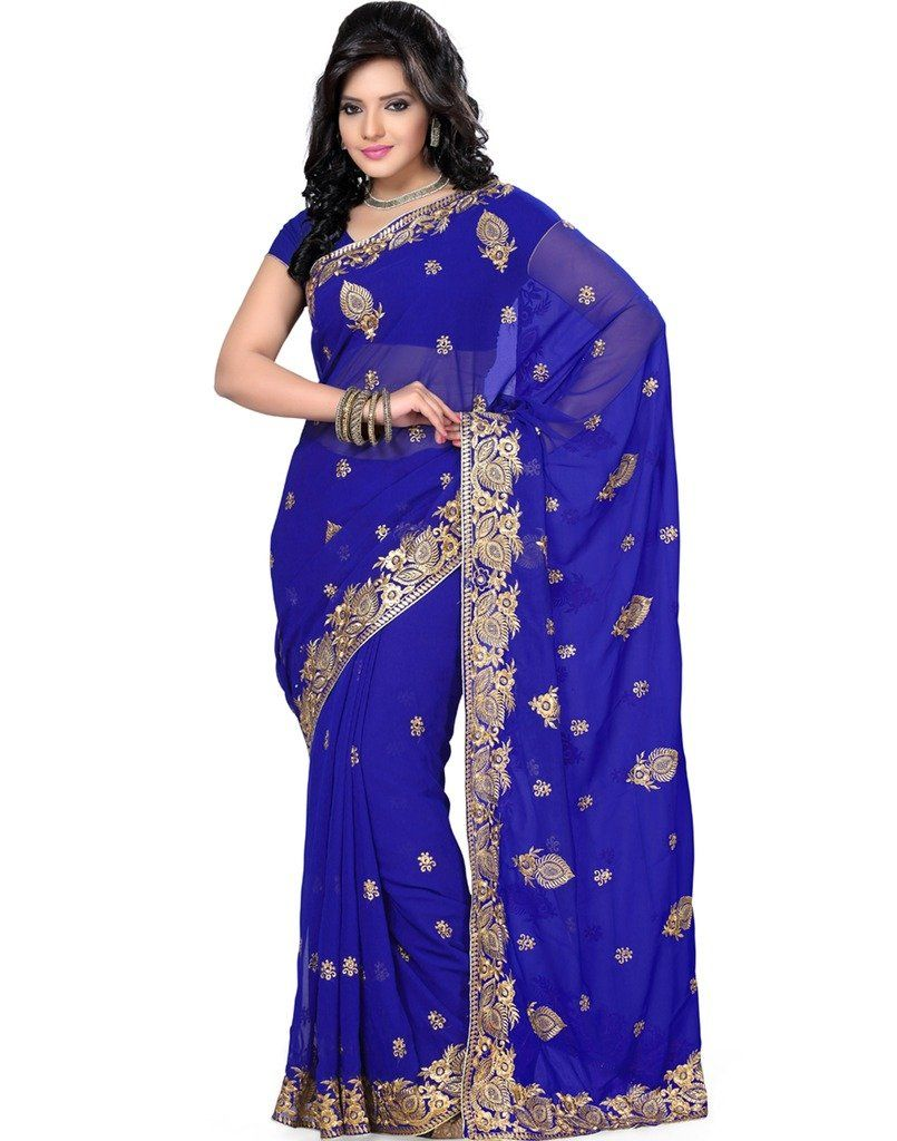 30cdcfee6276b Amazon.com  Saree Swarg Royal Blue Color Faux Georgette Saree with Blouse   Clothing