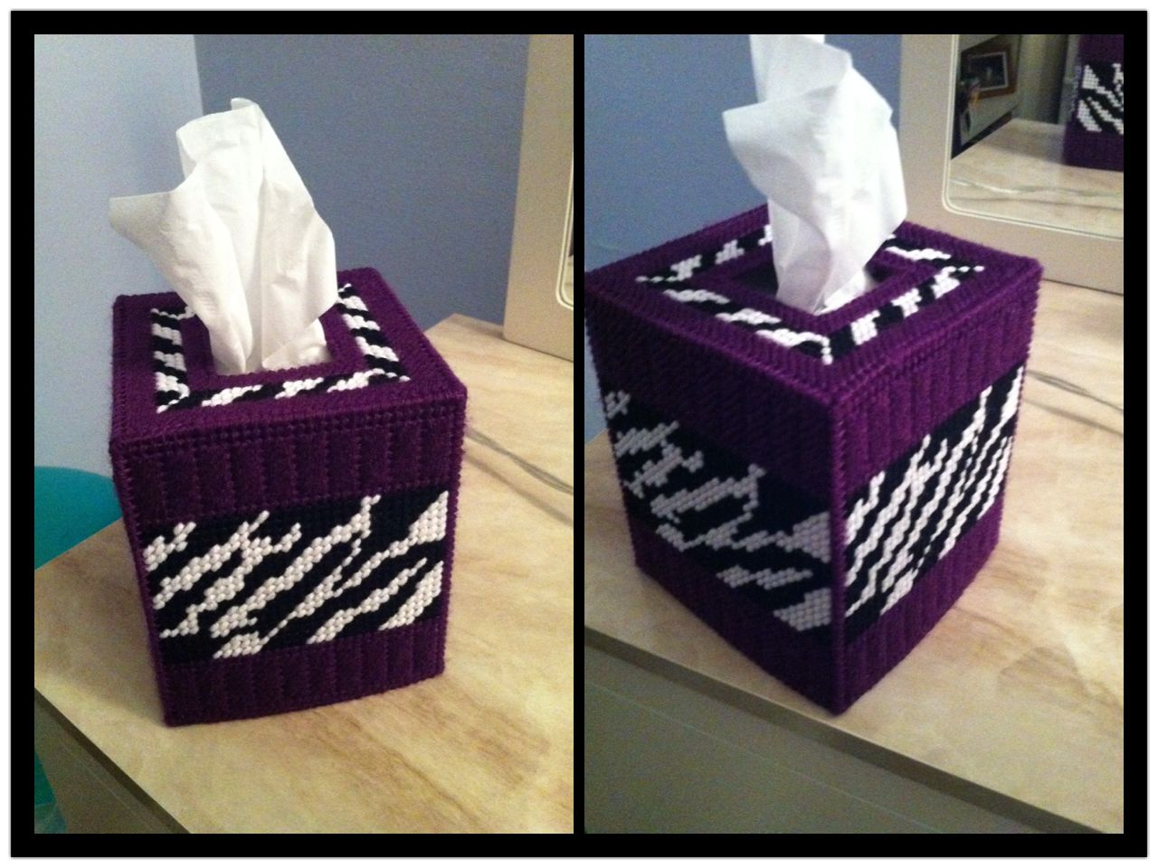 Purple Zebra Print Plastic Canvas Tissue Box Cover My