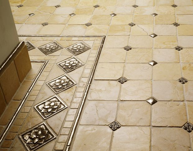 Metal Tiles Are A Great Accent To Porcelain Natural Stone Gl Or