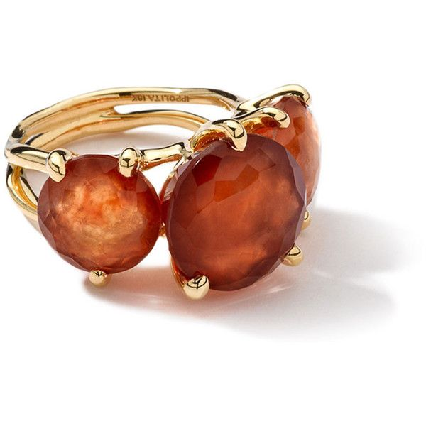 Ippolita 18k 3-Stone Hessanite Garnet Ring (2,060 CAD) ❤ liked on Polyvore featuring jewelry, rings, garnet, 3 stone ring, 18k jewelry, ippolita ring, ippolita and garnet ring