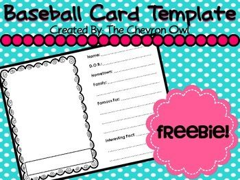 Baseball Card Template Freebie One Baseball Card Template