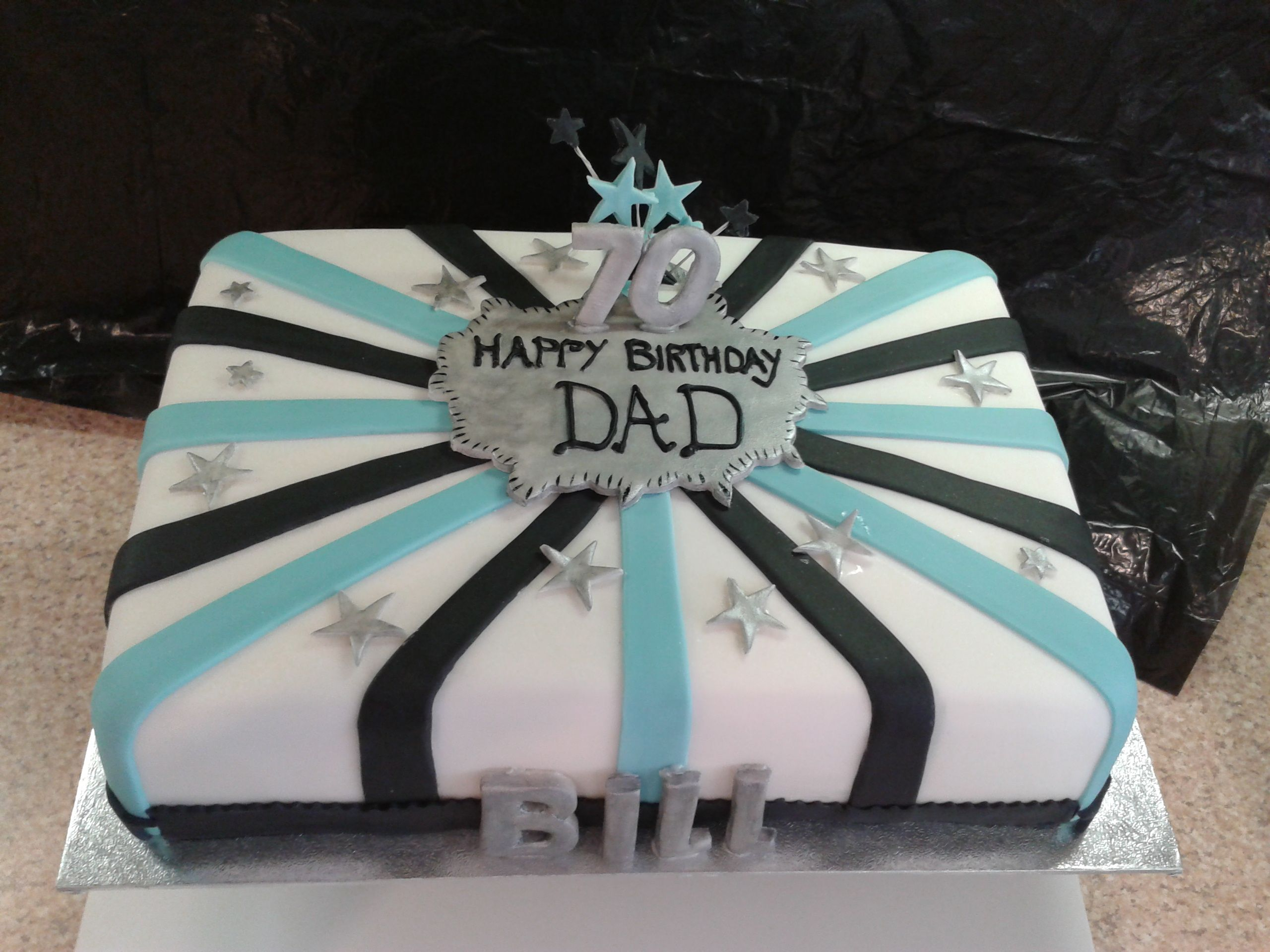 Tags 70th Bill Birthday Cake Black More Blue Silver With Images