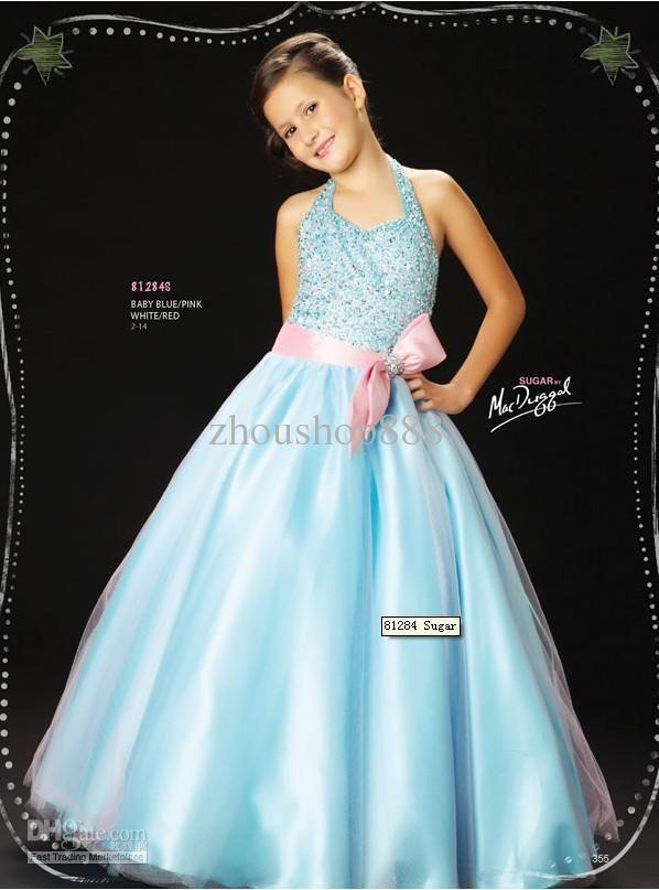 f370ee0e18e New Hot Sale!Christmas Halter bridal flower girl dress girls pageant dress party  Junior Bridesmaid