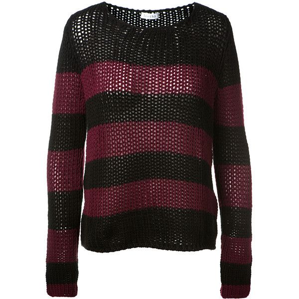 Leetha Black And Burgundy Striped Big Stitch Cashmere Sweater (1 ...