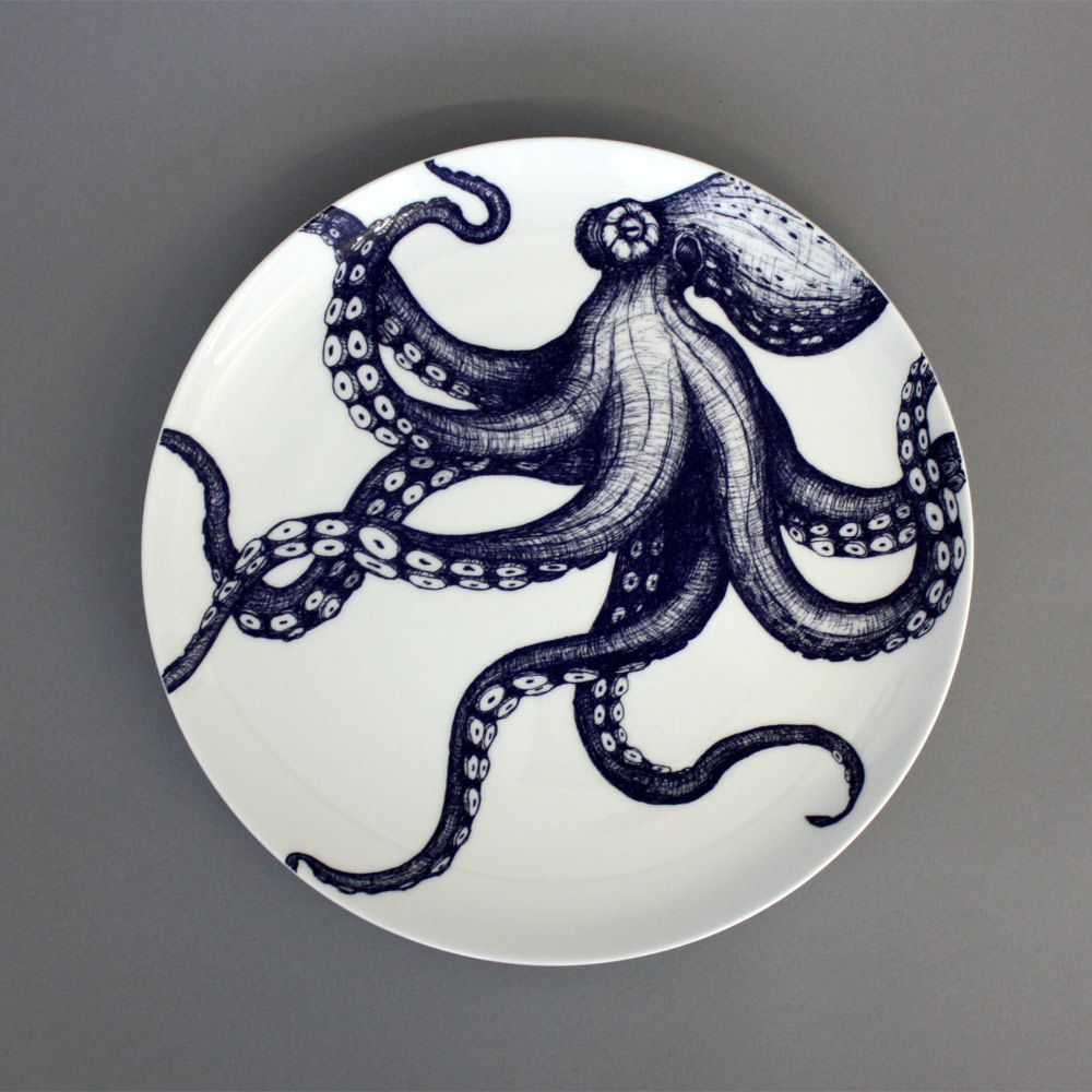 Maritime Bone China Octopus Plate by Cream Cornwall Ltd & cream-cornwall-octopus-plate.jpg   Octopi and Squidish Things ...