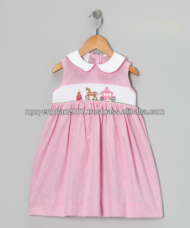 eff223bed Cheap Wholesale Pink Gingham Carriage Smocked Dress For Baby Girls ...