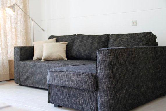 Custom Ikea Manstad Sofa Bed Cover Snug Fit In Nomad Black Fabric