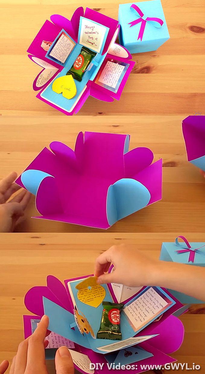 Diy Exploding Gift Box Craft Idea Exploding Gift Box Diy Gift