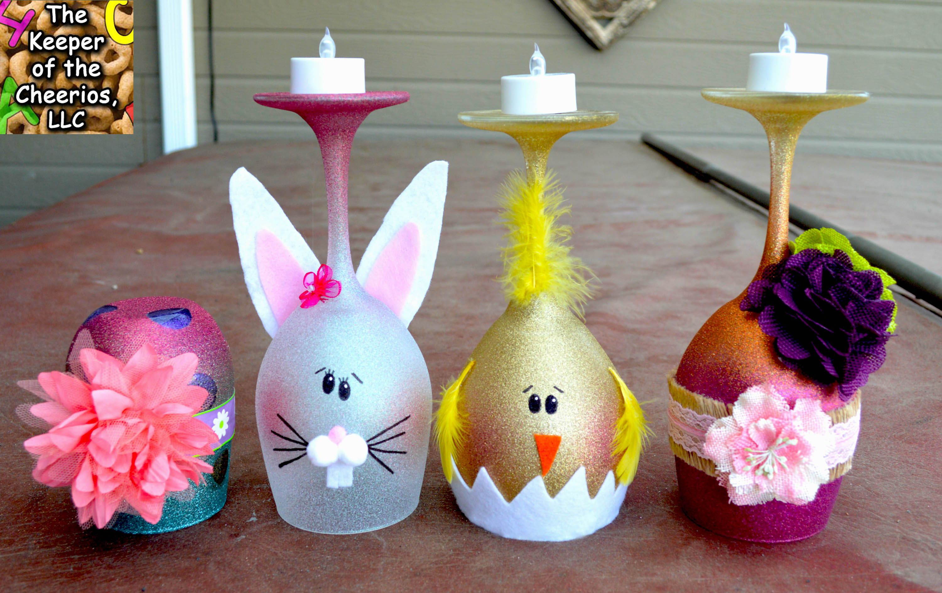 EASTER WINE GLASS CANDLE HOLDERS Wine glass candle