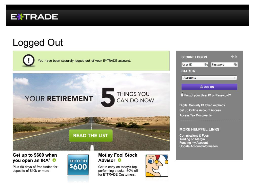 This is etrade's logout experience a standalone page