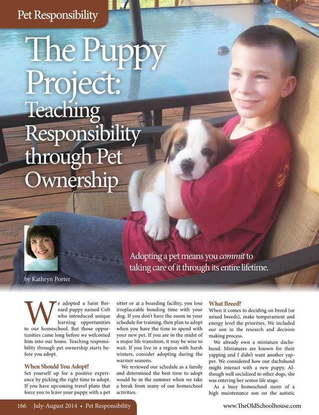 The Puppy Project: Teaching Responsibility through Pet Ownership – By Kathryn Porter http://www.thehomeschoolmagazine-digital.com/thehomeschoolmagazine/2014x4/#pg169  The Old Schoolhouse Magazine - July/August 2014 - Page 166-167