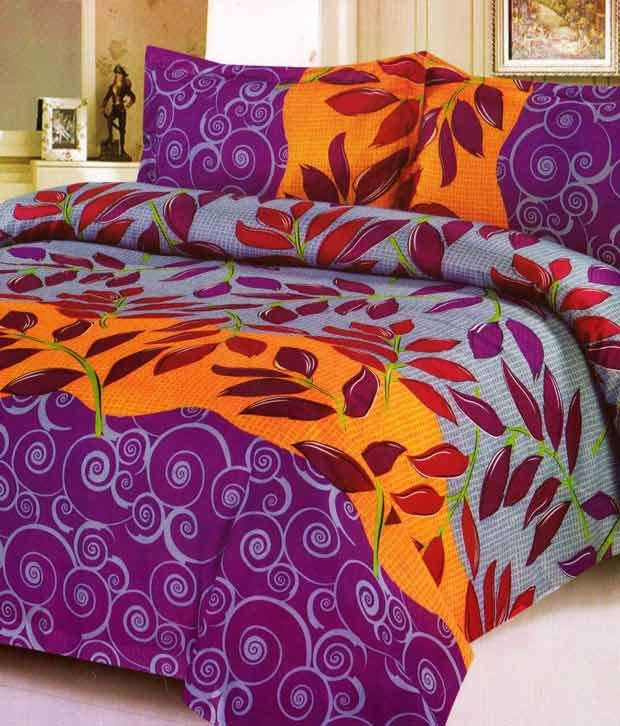 Sai Arpan Leafy Print Double Bed Sheet With 2 Pillow Covers