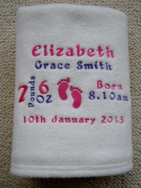 Personalised Baby Blanket Footprints Boy//Girl Birth Christening Name Date Gift