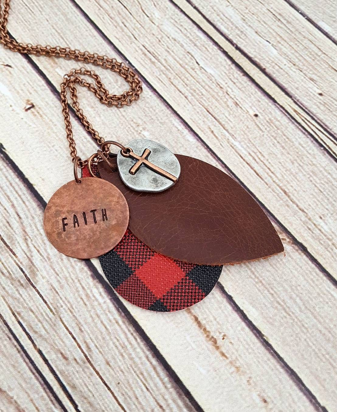 Photo of Hand Stamped Faith Necklace, Buffalo Plaid Leather Necklace, Leather Pendant Necklace, Custom Hand Stamped Necklace