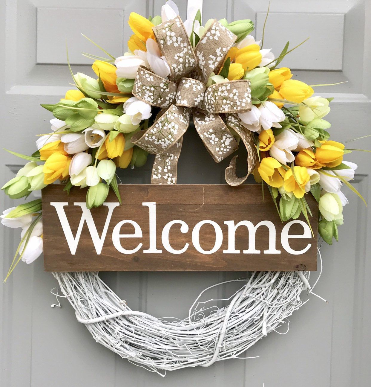Photo of Welcome Tulip Wreath, Grapevine Wreath, Summer Floral Decor