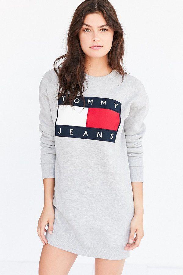 16b55d55814c Tommy Jeans For UO '90s Logo Sweatshirt Mini Dress | FASHIONISTA in ...