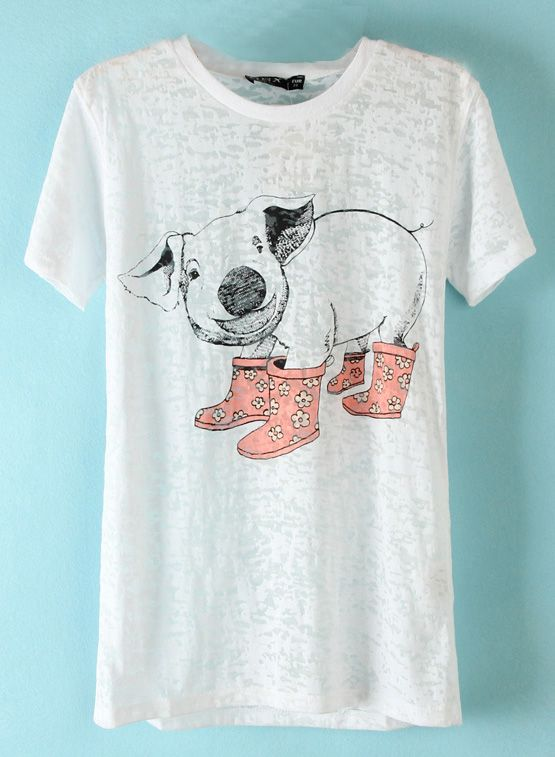 31a36149 White Short Sleeve Pig Print T-Shirt - Sheinside.com I want sooo badly but  it's out of stock :(