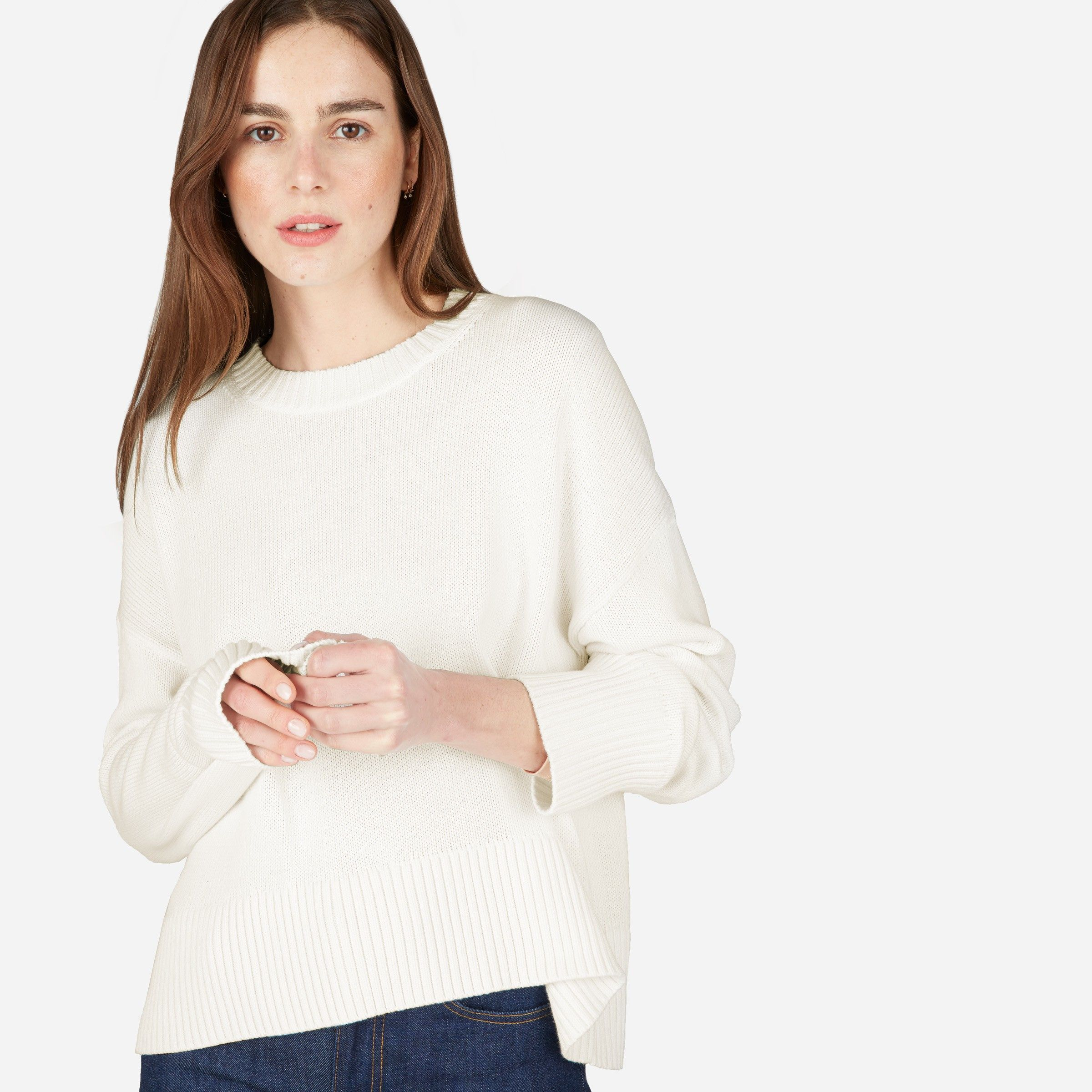 The Soft Cotton Square Crew | Cotton sweater, Cotton and Layering