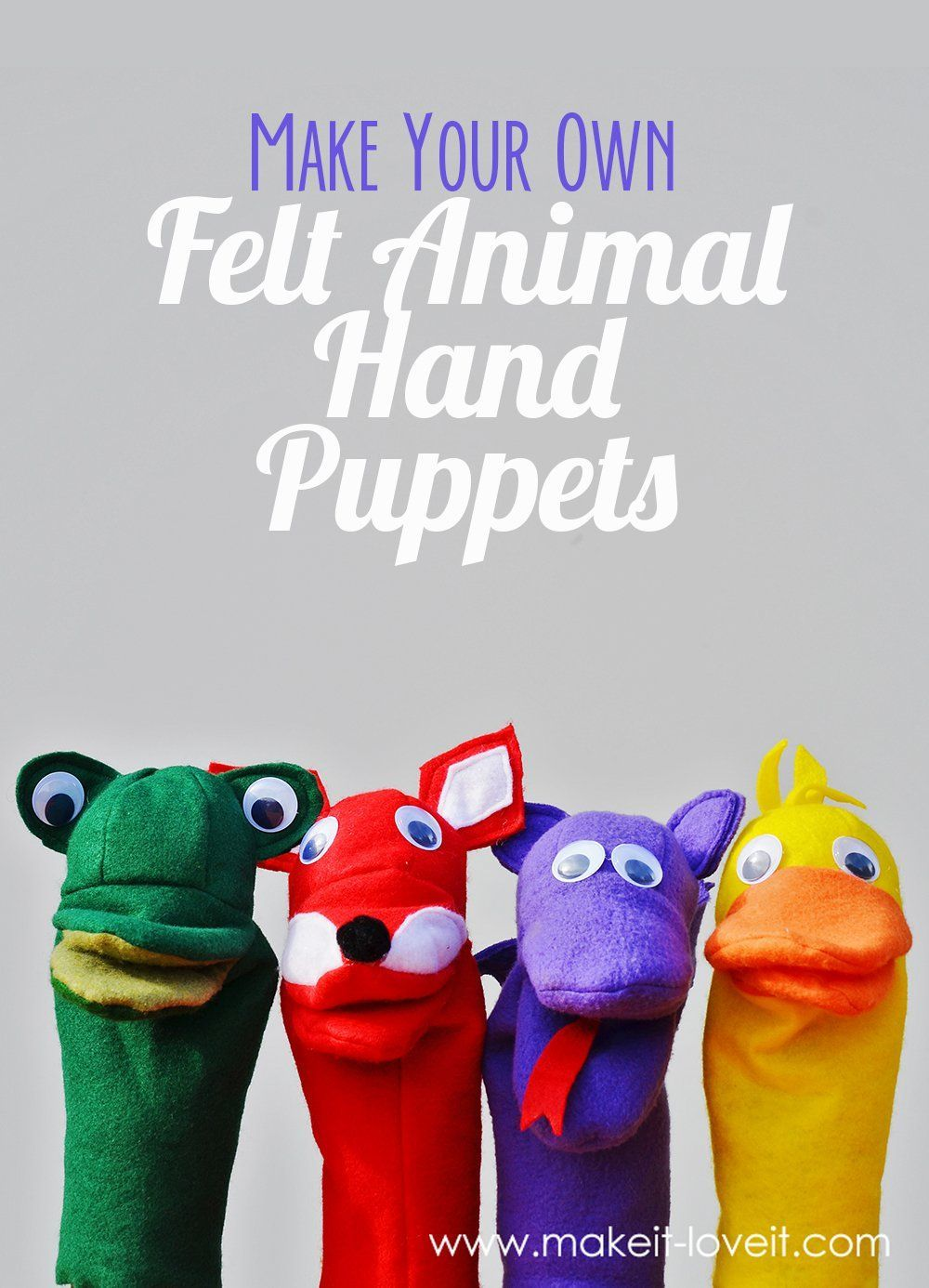 felt animal hand puppets - free pdf templates and step by step photo