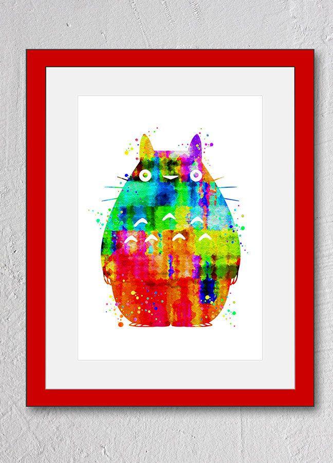 Totoro My Neighbor Watercolor Print Art Wall Decor Christmas Anniversary Valentine Day Children Gift Nursery Room (N424) by PointDot on Etsy