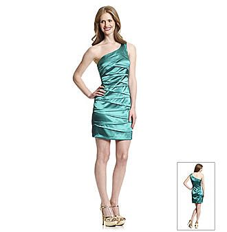 Bergners Green One-Shoulder Layered Dress