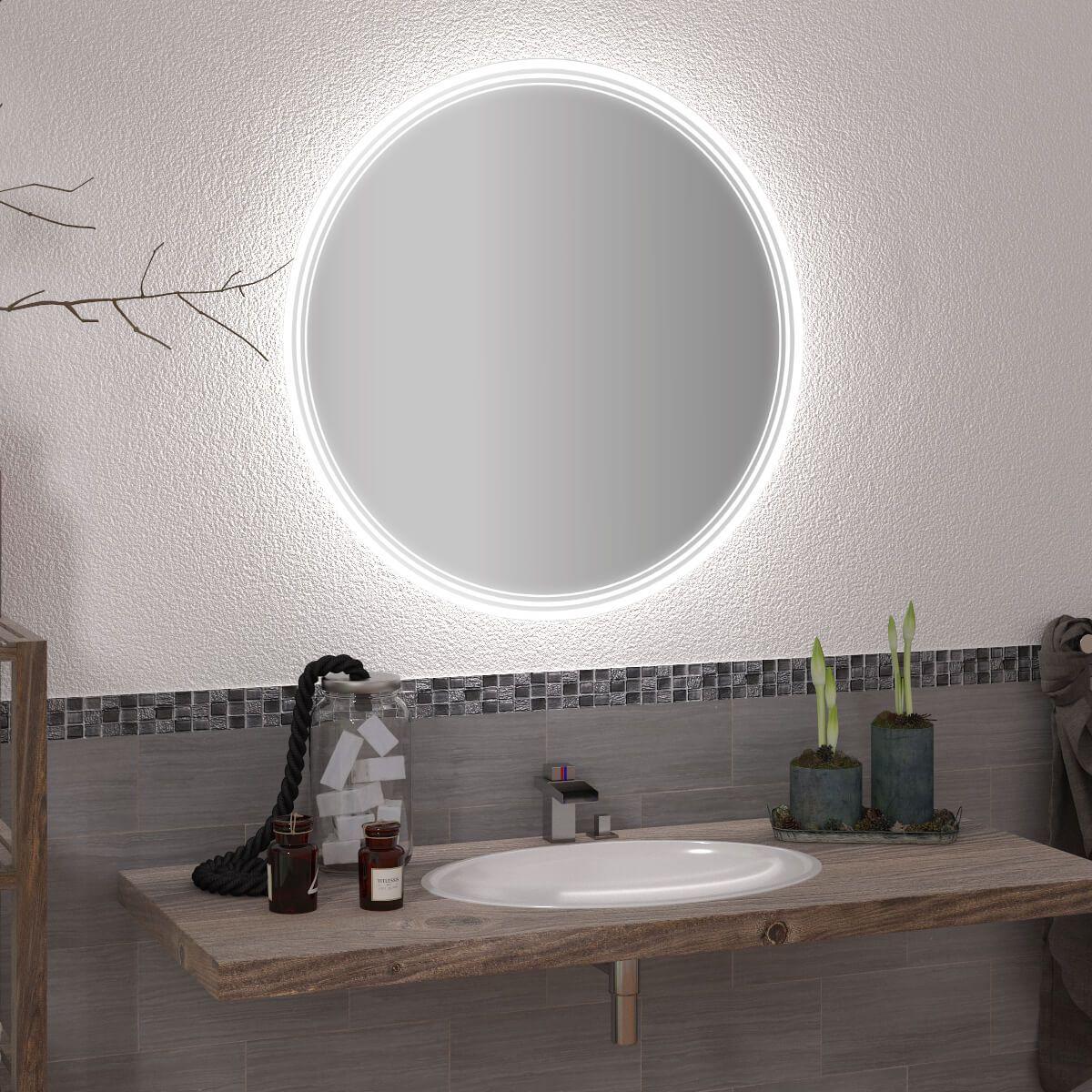 Runder Spiegel Mit Led Nach Mass Liam 989709693 In 2020 Led Spiegel Runde Spiegel Runde Badezimmerspiegel