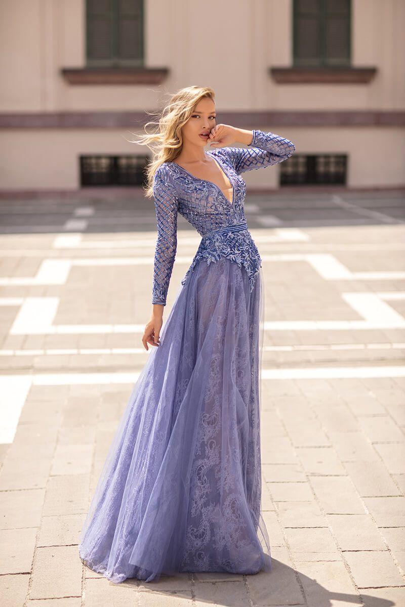 Tarik Ediz 93931 Long Sleeve Embroidered Dress In 2021 Long Sleeve Embroidered Dress Dresses Lace A Line Dress [ 1200 x 800 Pixel ]